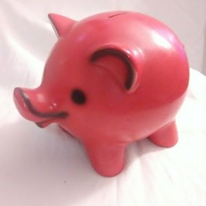Vintage piggy bank Rare red and black